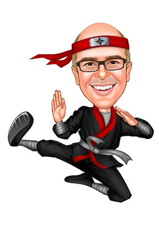 caricature of Luke Crockford as a Ninja